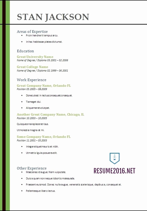 Microsoft Word Resume Template 2017 Unique Best Resume format 2017 Template