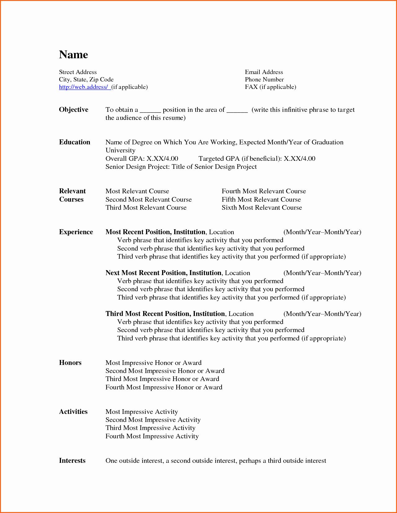 Microsoft Word Resume Templates 2007 Elegant 6 Free Resume Templates Microsoft Word 2007 Bud