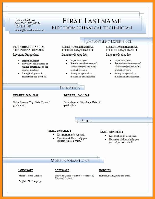 Microsoft Word Resume Templates 2014 Fresh 8 Free Cv Template Microsoft Word