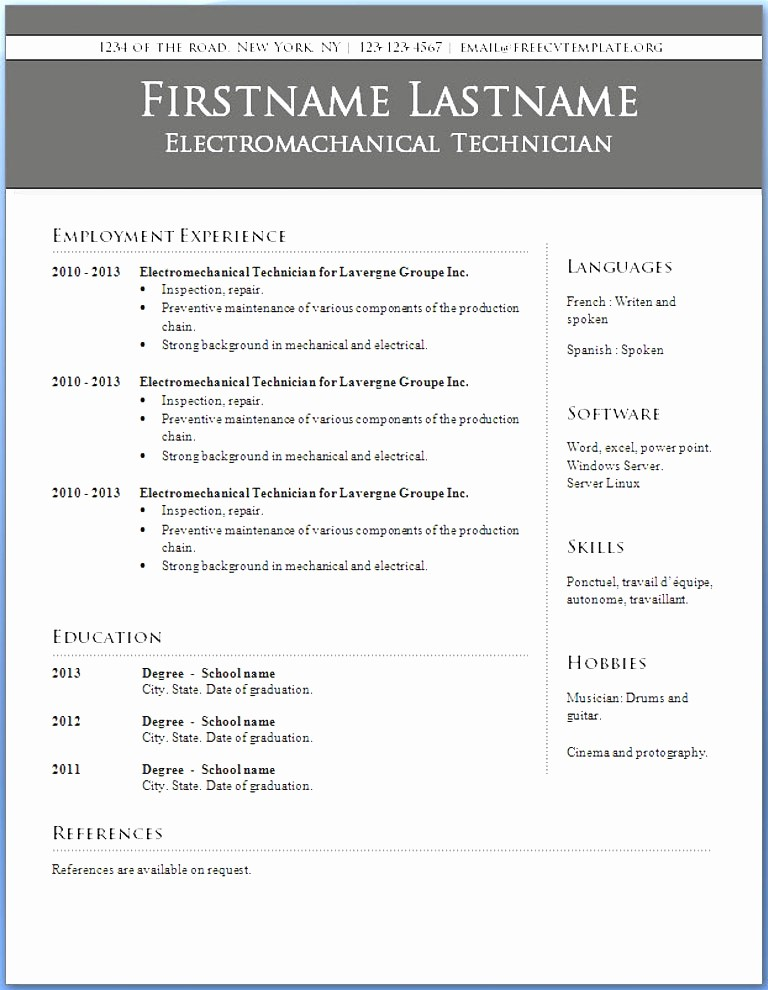 Microsoft Word Resume Templates 2014 Lovely Word Resume Template 2014 2014 Cv format Word Resume