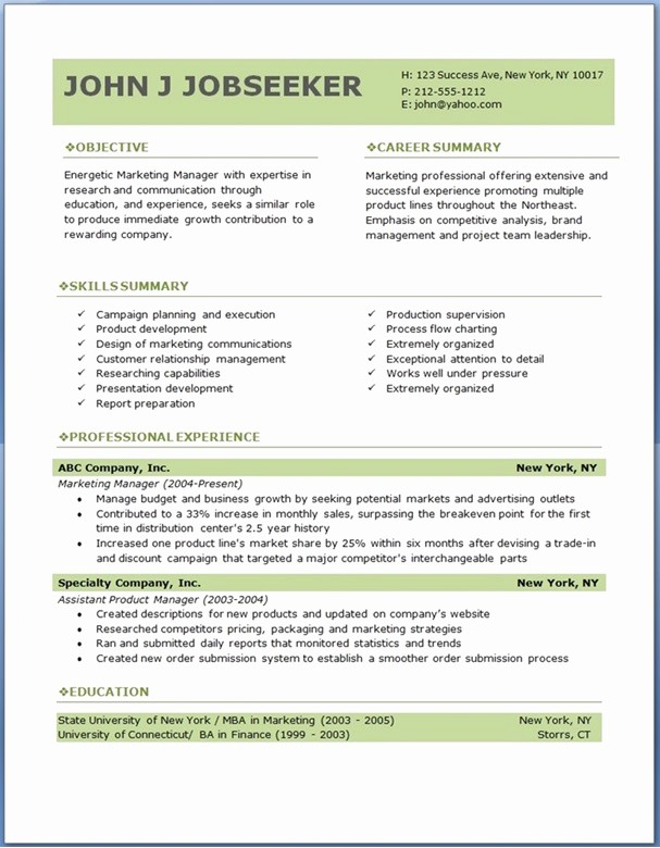 Microsoft Word Resume Templates 2014 New Free Professional Resume Templates Download