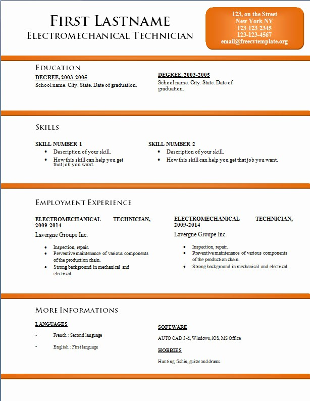 Microsoft Word Resume Templates 2014 Unique Cv Word Template – Free Cv Template Dot org