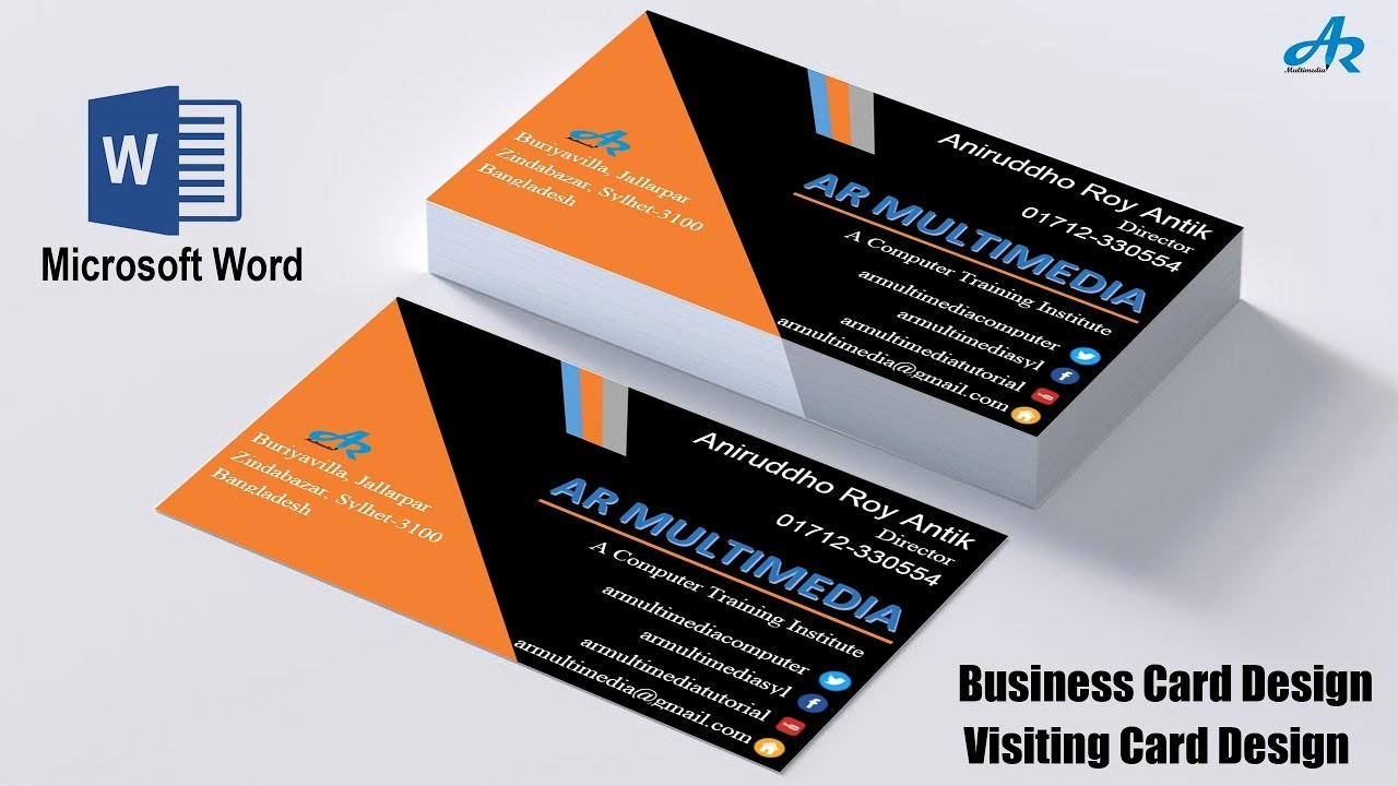 Microsoft Word Template Business Cards Beautiful Ms Word Tutorial How to Create Professional Business Card