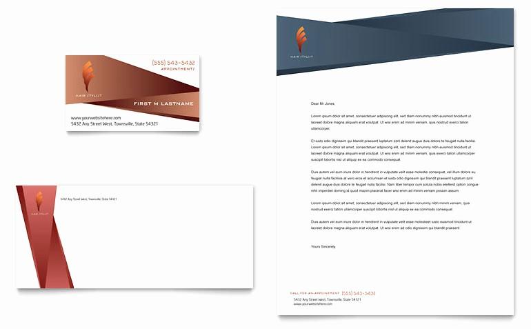 Microsoft Word Template Business Cards Luxury Hair Stylist & Salon Business Card & Letterhead Template
