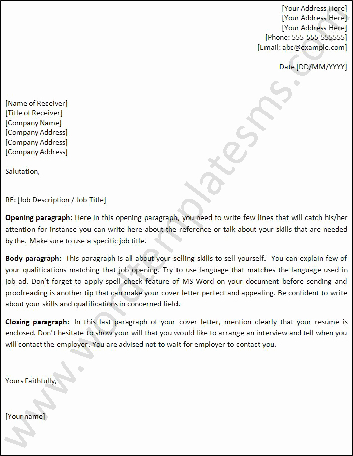 Microsoft Word Template Cover Letter Inspirational Cover Letter Template Word