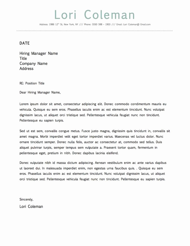 Microsoft Word Template Cover Letter Lovely Simple Beautiful Cover Letter Template for Microsoft Word