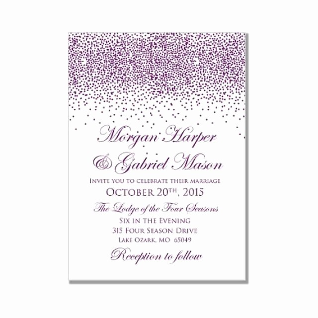 Microsoft Word Template for Invitations Beautiful Printable Wedding Invitation Purple Wedding Purple