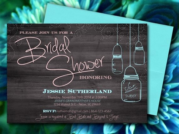 Microsoft Word Template for Invitations New Mason Jar Wood Bridal Shower Invitation Rustic Wedding Shower