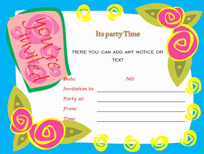Microsoft Word Template for Invitations Unique Birthday Party Invitations Microsoft Word Templates