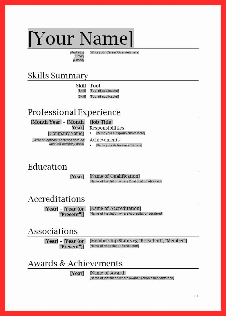 Microsoft Word Template for Resume Fresh Cv format In Ms Word