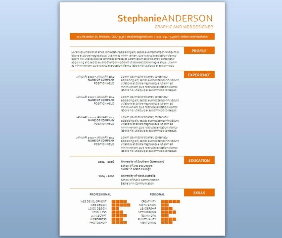 Microsoft Word Template for Resume Lovely Modern Microsoft Word Resume Template Stephanie by Inkpower
