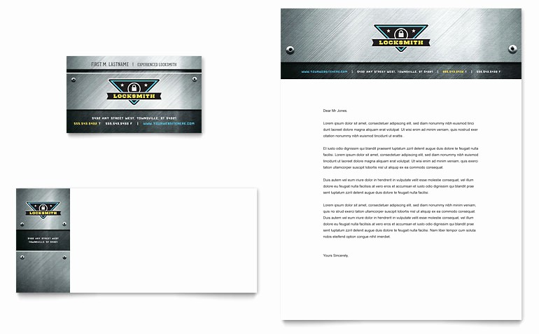 Microsoft Word Templates Business Cards New Locksmith Business Card & Letterhead Template Word