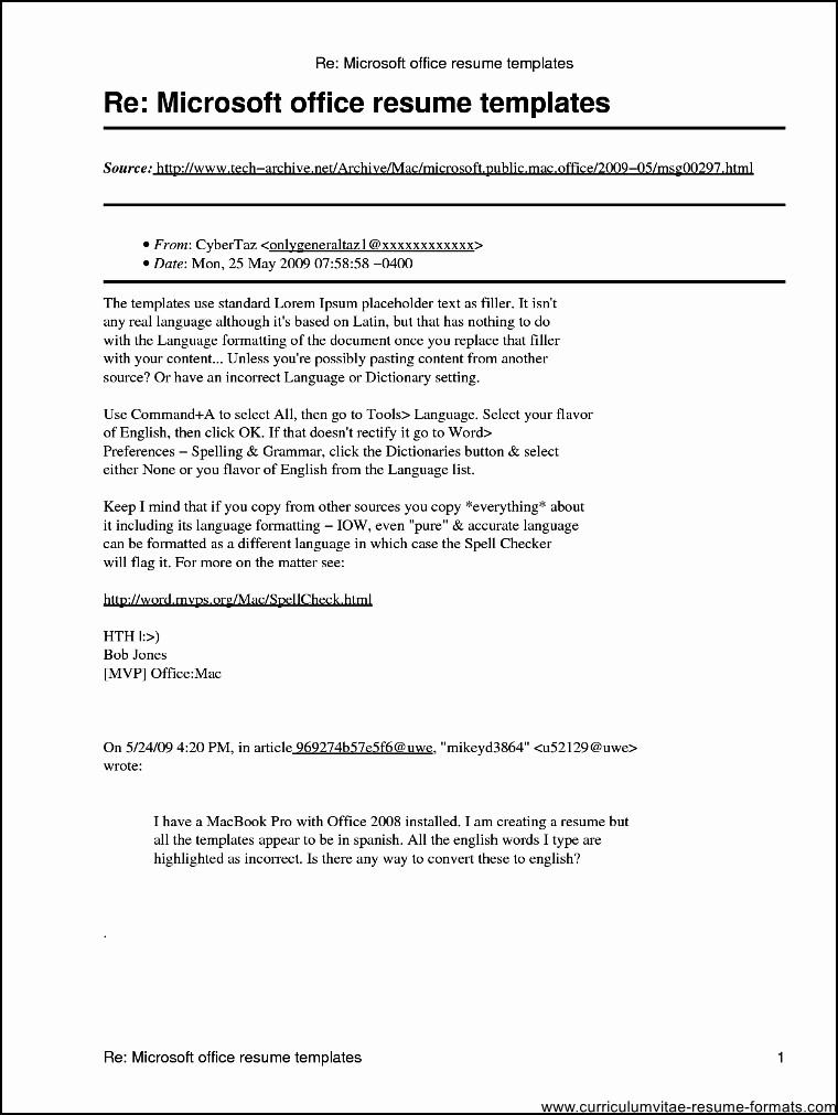 Microsoft Word Templates for Mac Awesome Microsoft Fice Resume Templates for Mac Free Samples