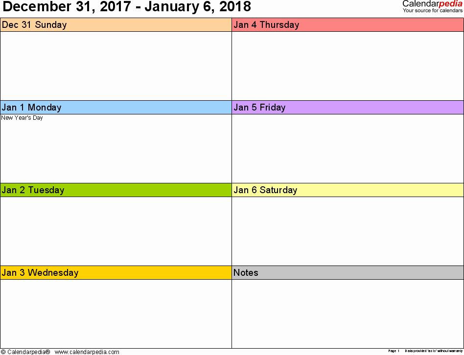 Microsoft Word Weekly Calendar Template Best Of Weekly Calendar 2018 for Word 12 Free Printable Templates