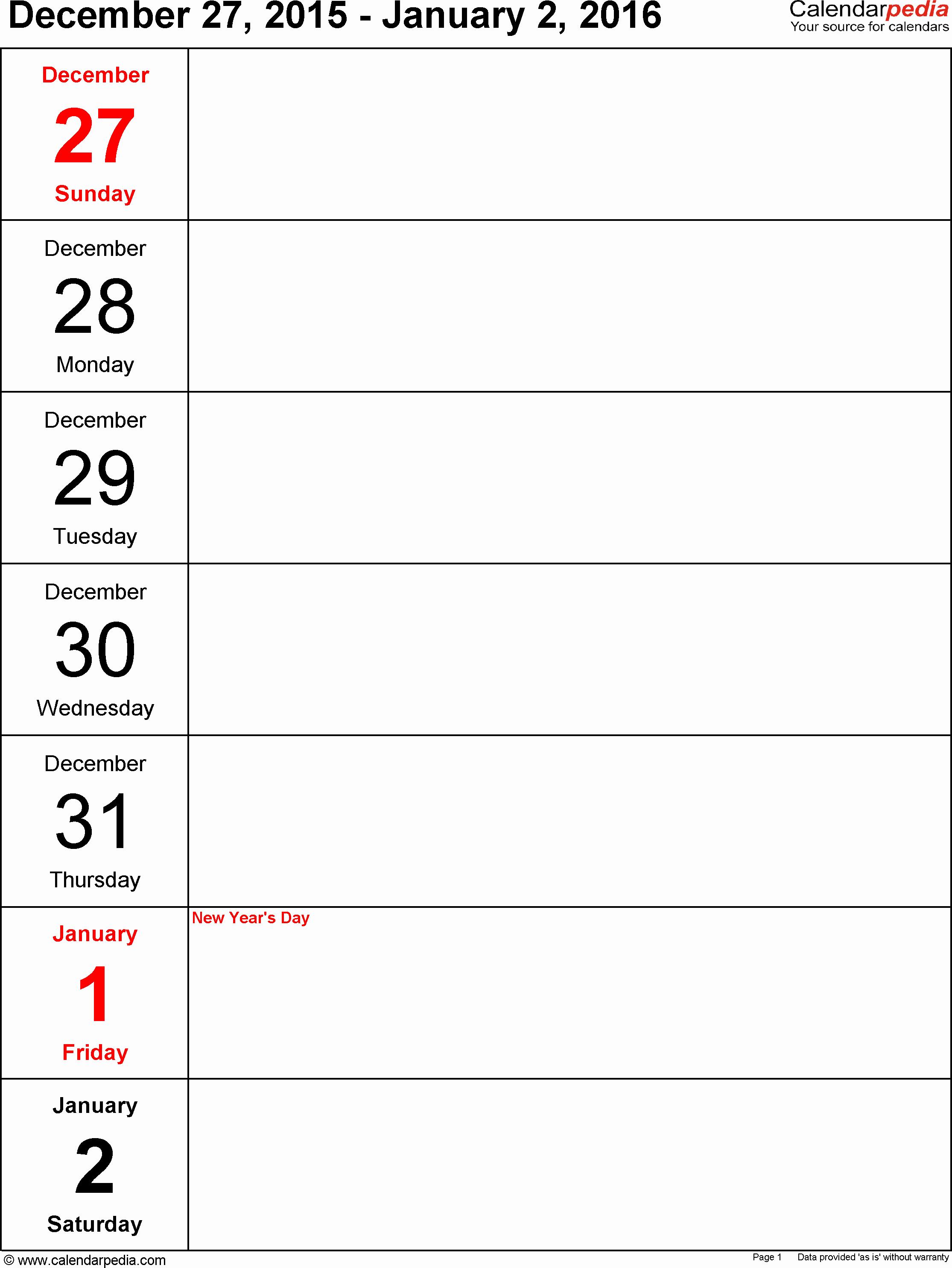 Microsoft Word Weekly Calendar Template Elegant Weekly Calendar 2016 for Word 12 Free Printable Templates