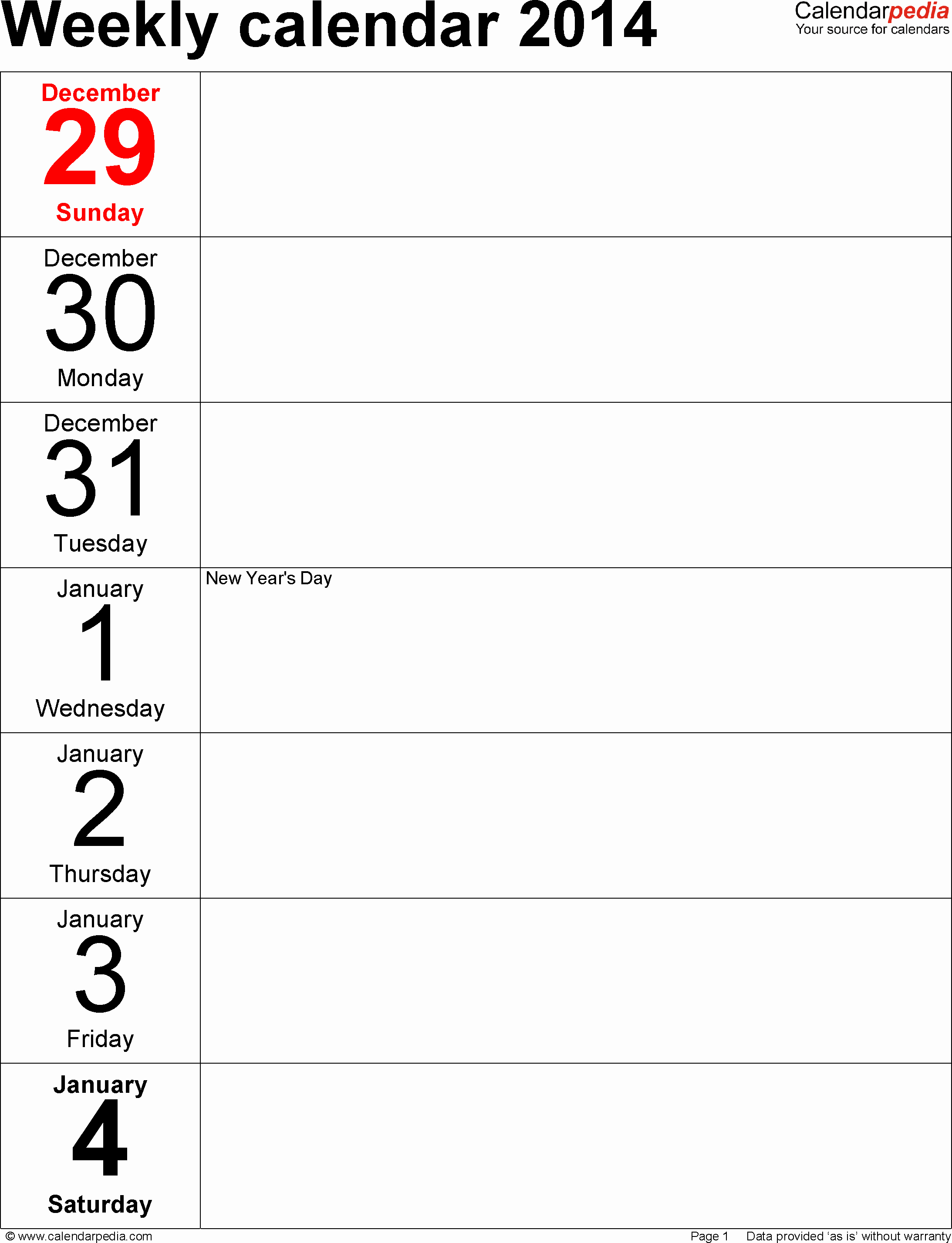 Microsoft Word Weekly Calendar Template Inspirational Weekly Calendar 2014 for Word 4 Free Printable Templates