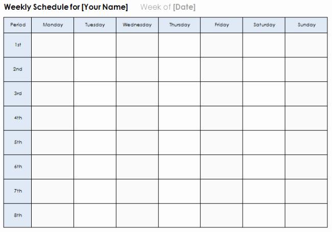 Microsoft Word Weekly Calendar Template Luxury Weekly Calendar Template Plan Daily or Weekly Tasks