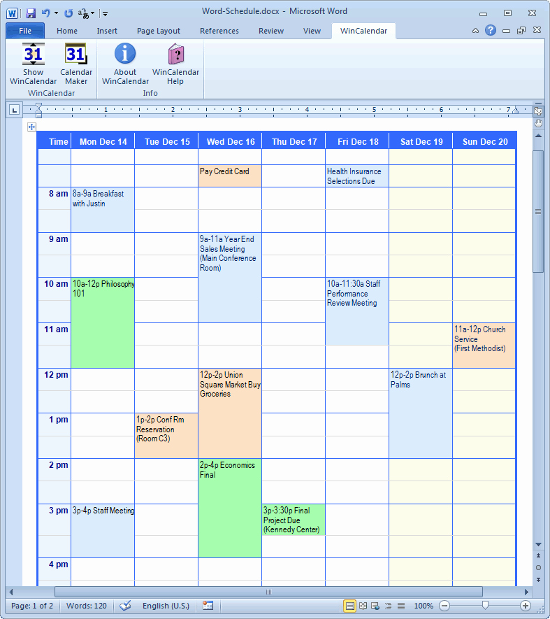 Microsoft Word Weekly Schedule Template Awesome Calendar Creator for Microsoft Word with Holidays