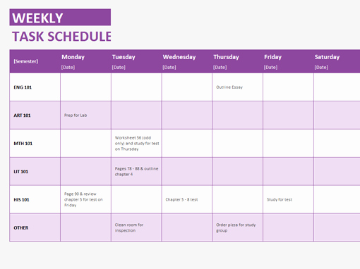 Microsoft Word Weekly Schedule Template Lovely Weekly Task Schedule Templates Fice