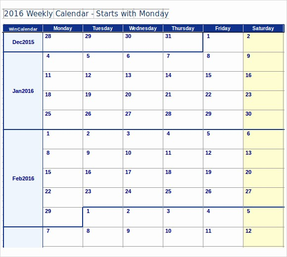 Microsoft Word Weekly Schedule Template New Microsoft Calendar Template 8 Download Free Documents In