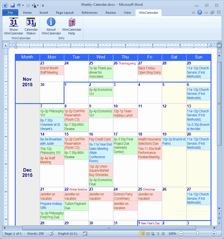 Microsoft Word Weekly Schedule Template Unique Calendar Maker & Calendar Creator for Word and Excel
