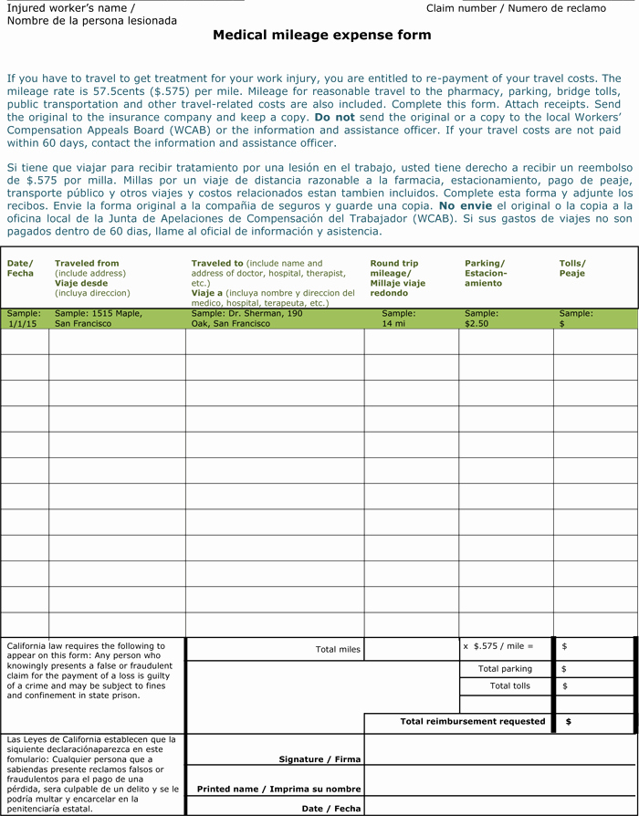 Mileage Expense form Template Free Fresh 8 Mileage Log Templates to Keep Your Mileage On Track