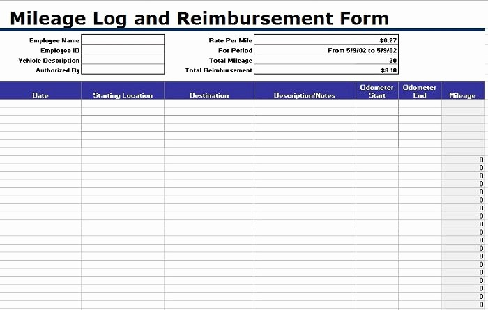 Mileage Expense form Template Free Lovely 30 Printable Mileage Log Templates Free Template Lab