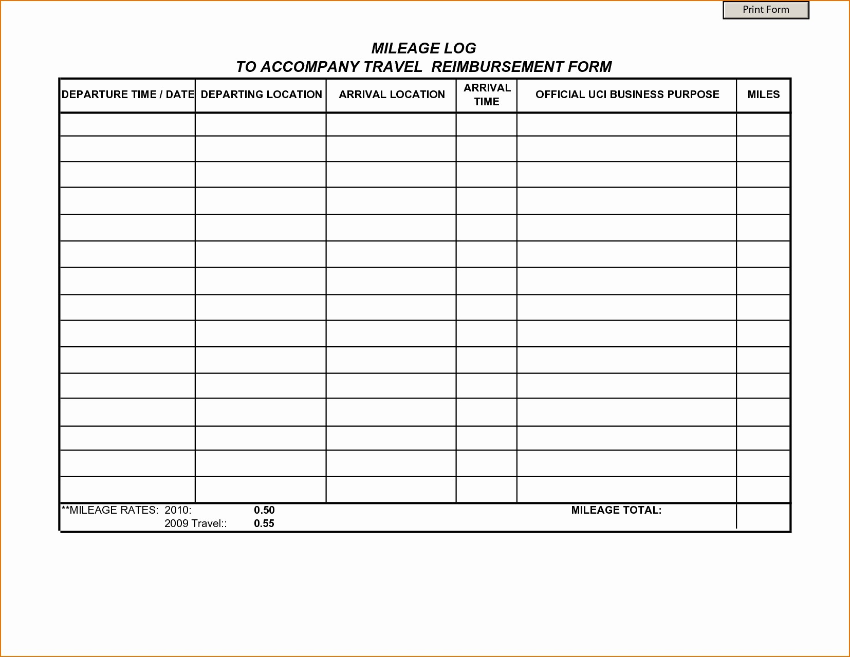 Mileage Expense form Template Free New Mileage Reimbursement form Template
