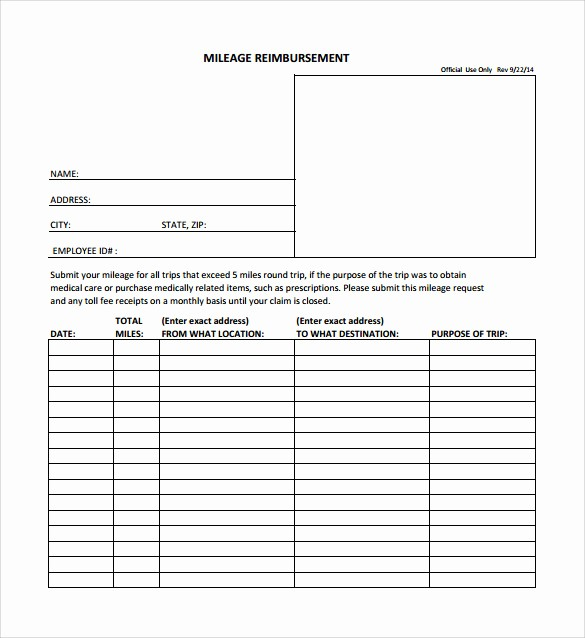 Mileage Log and Reimbursement form Awesome 9 Mileage Reimbursement form Download for Free