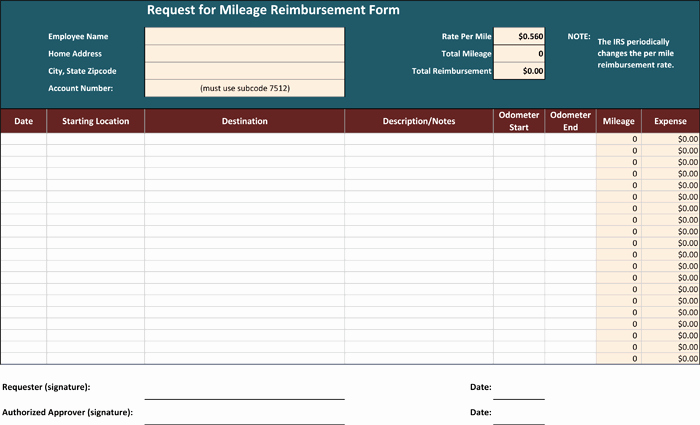 Mileage Log and Reimbursement form Beautiful 5 Mileage Reimbursement form Templates for Word and Excel