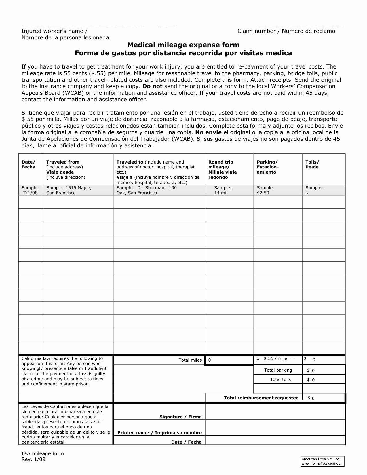 Mileage Log and Reimbursement form Elegant 18 Best Of Mileage Expense Worksheets Free