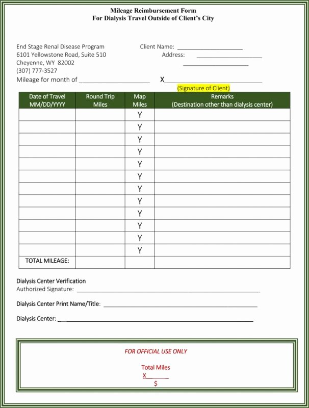 Mileage Log and Reimbursement form Elegant Mileage Reimbursement form