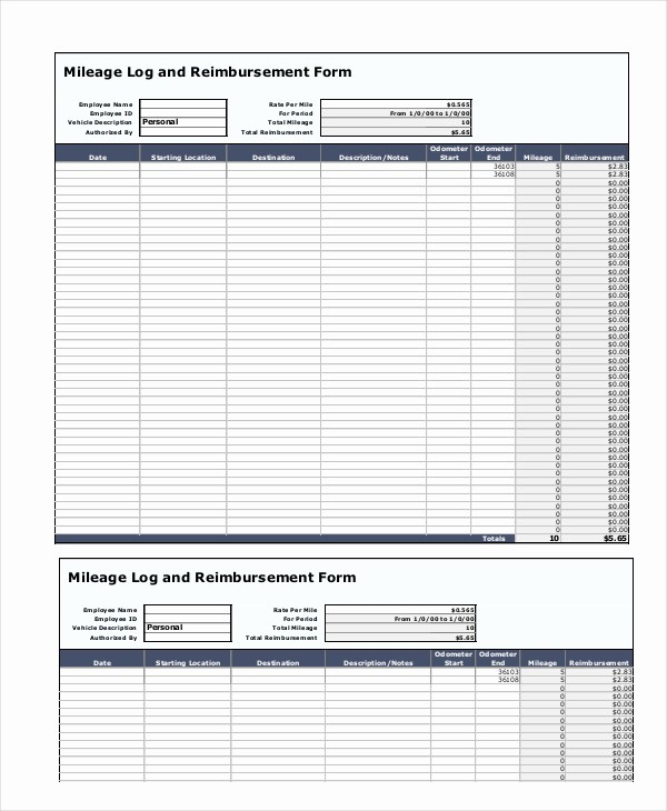 Mileage Log and Reimbursement form Luxury Mileage Reimbursement form 9 Free Sample Example