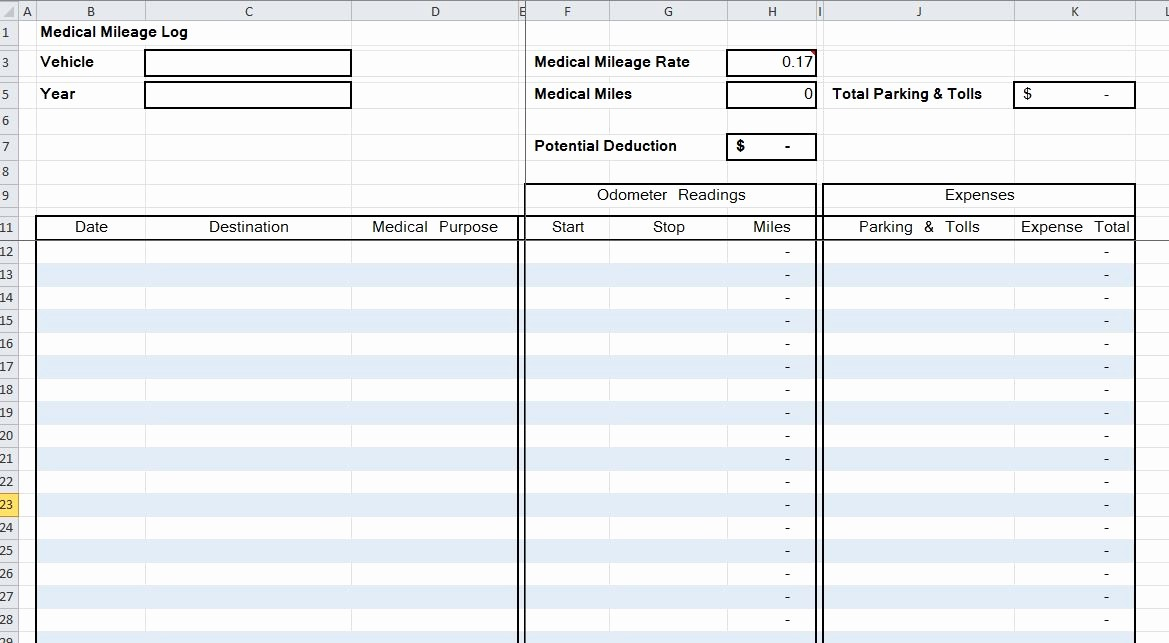 Mileage Log form for Taxes Best Of Mileage Log Spreadsheet – organized Bookkeeping