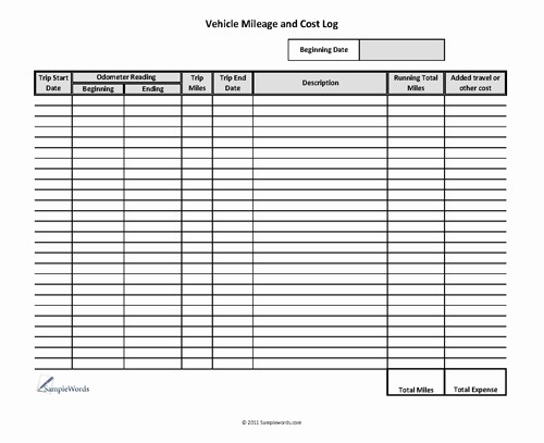 Mileage Log form for Taxes Elegant Vehicle Mileage Log Expense form Free Pdf Download