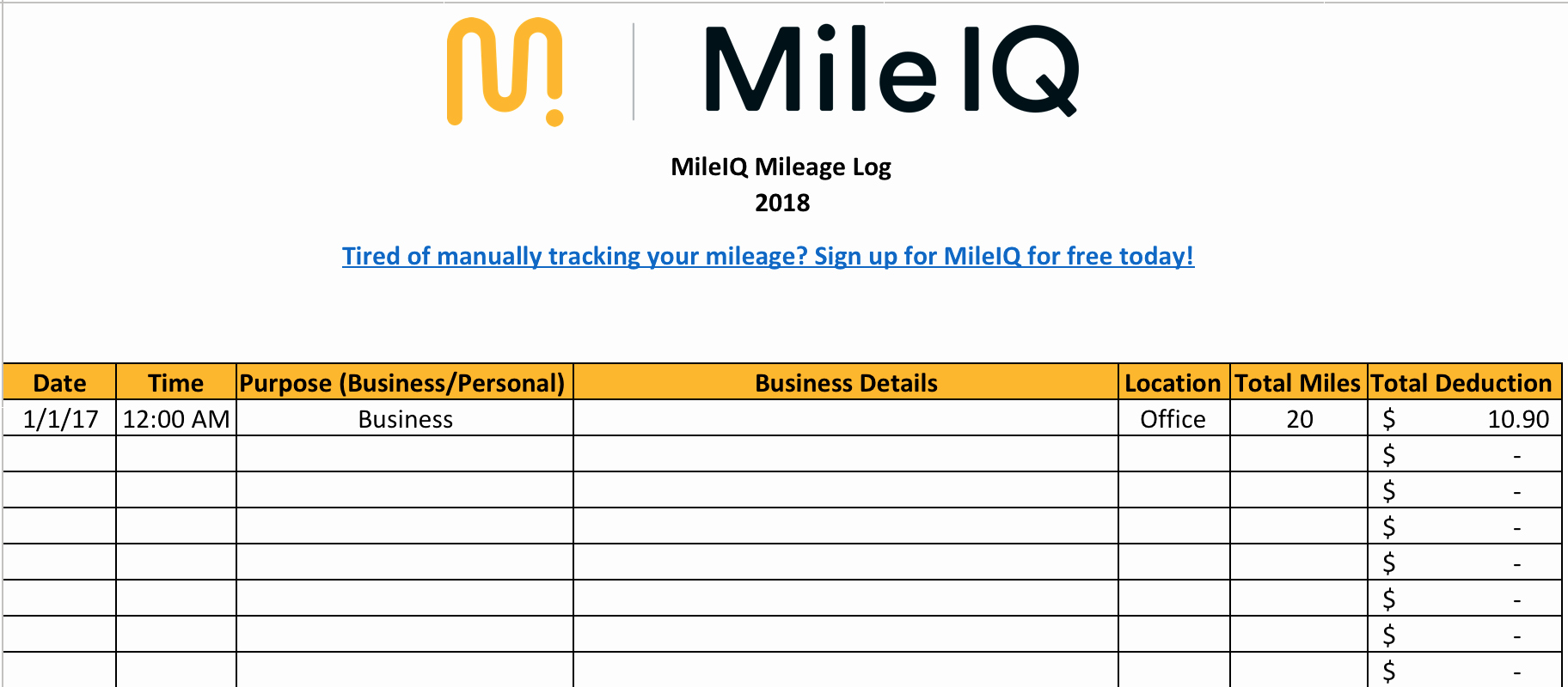 Mileage Log form for Taxes Fresh Free Mileage Log Template for Taxes Track Business Miles