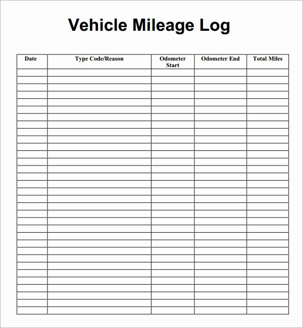 Mileage Log form for Taxes Inspirational 13 Sample Mileage Log Templates to Download