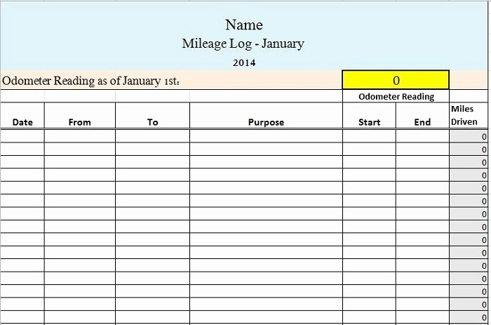 Mileage Log form for Taxes New 30 Printable Mileage Log Templates Free Template Lab