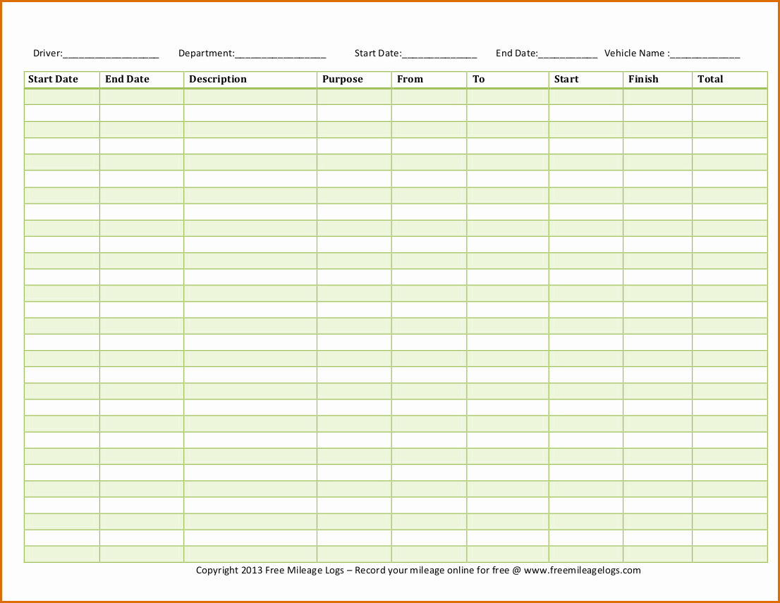 Mileage Log Sheet for Taxes Beautiful 5 Mileage Log Template