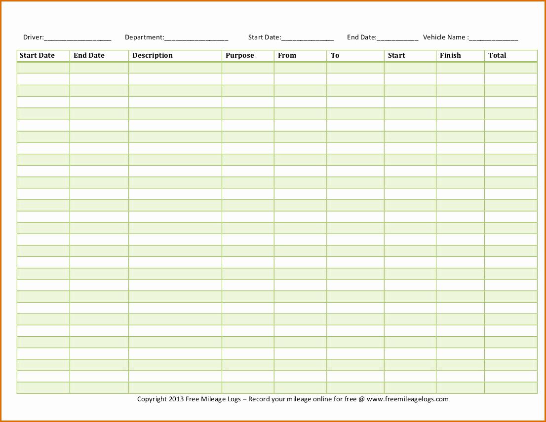 Mileage Log Sheet for Taxes Beautiful 5 Mileage Log Template