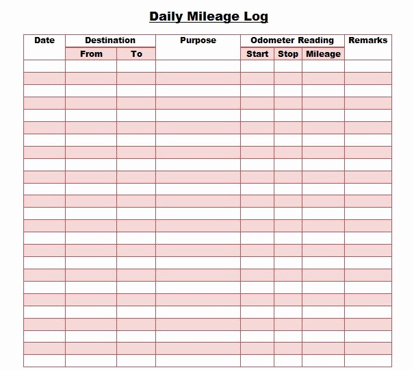 Mileage Log Sheet for Taxes Best Of 30 Printable Mileage Log Templates Free Template Lab