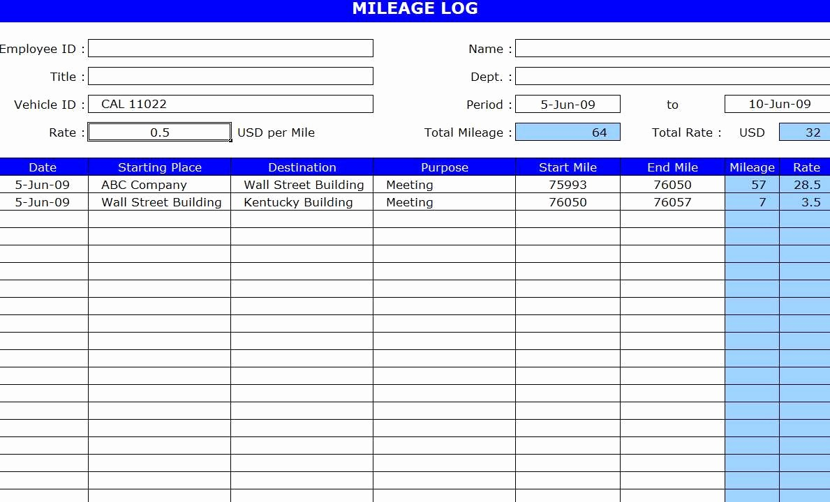 Mileage Log Sheet for Taxes Fresh Free Mileage Log Template