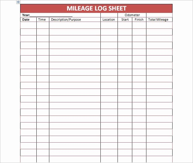 Mileage Log Sheet for Taxes Unique 44 Mileage Log Templates Free Word Excel Pdf format