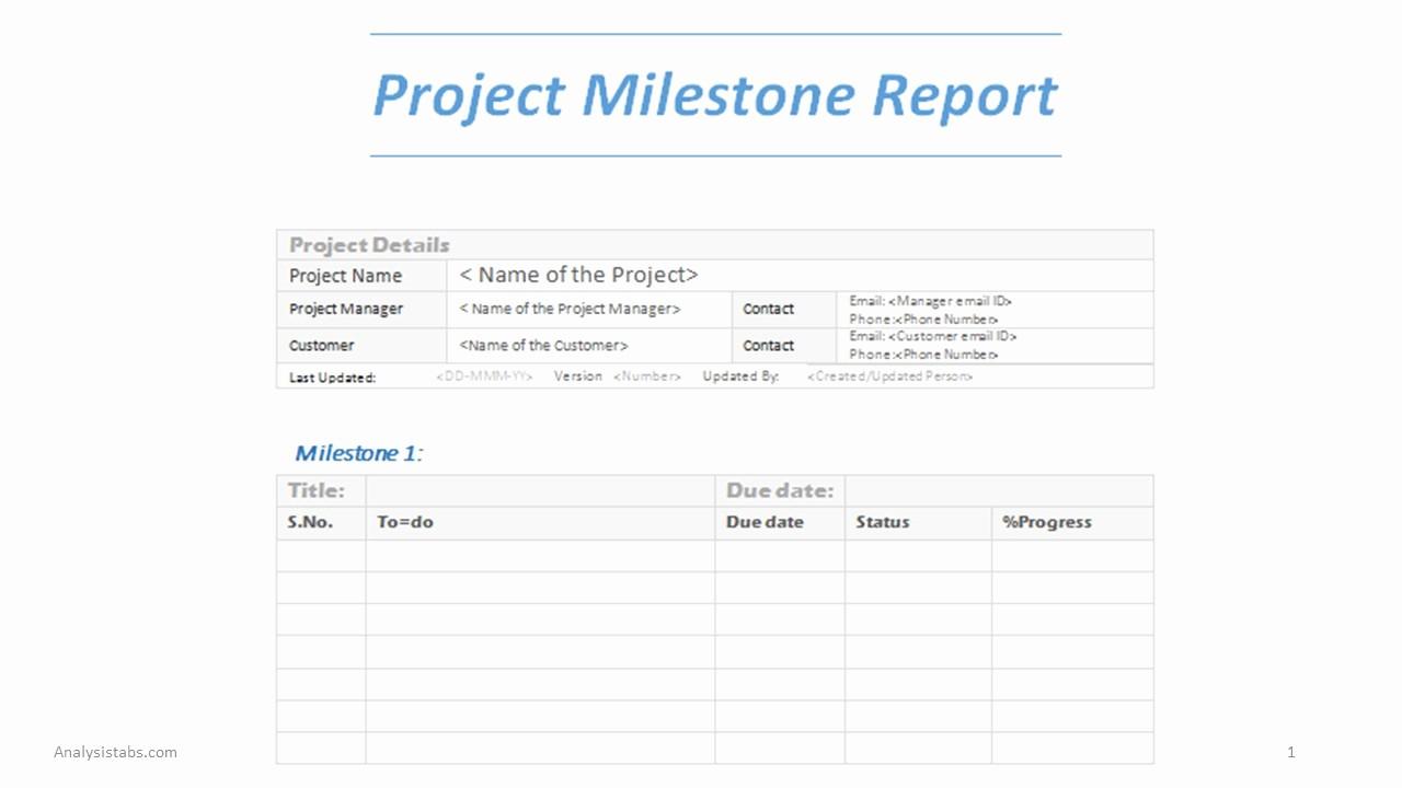 Milestone Plan Template In Excel Unique Project Milestone Report Word Template