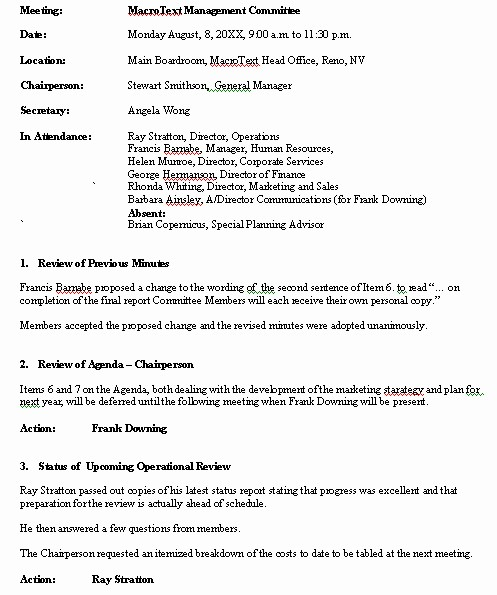 Minutes Of A Meeting Template Beautiful Meeting Minutes Sample format for A Typical Meeting