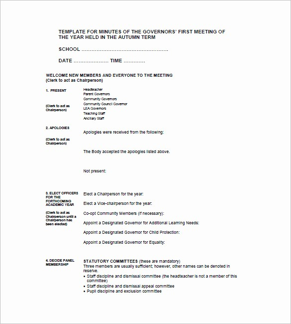 Minutes Of A Meeting Template Fresh 18 School Meeting Minutes Templates Pdf Doc