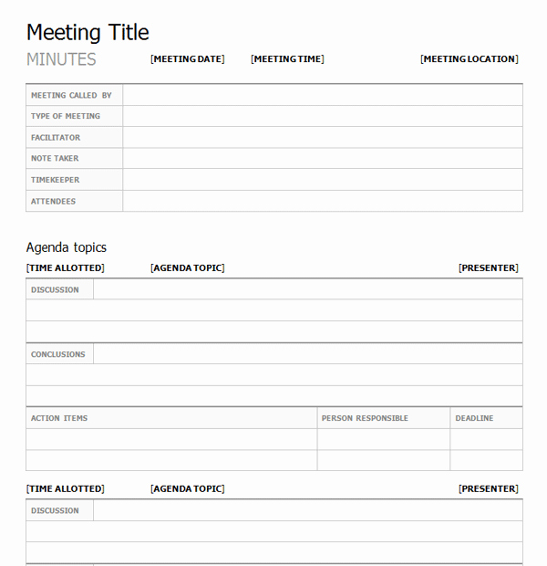 what are the elements of a meeting minutes template 1781
