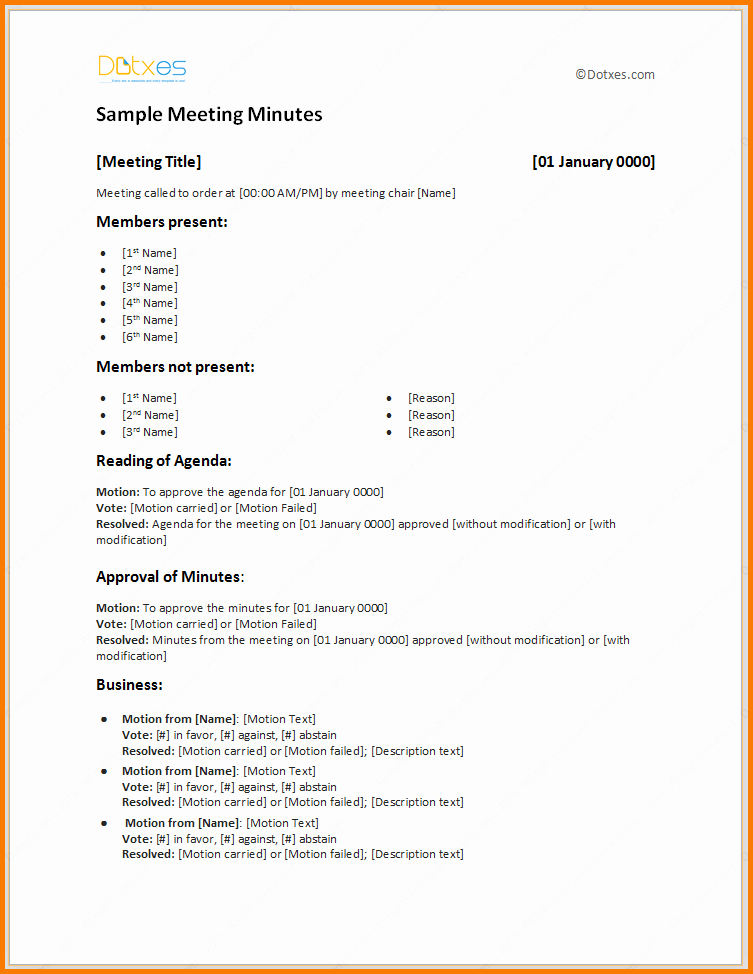 Minutes Of A Meeting Template Inspirational Sample Meeting Minutes Template