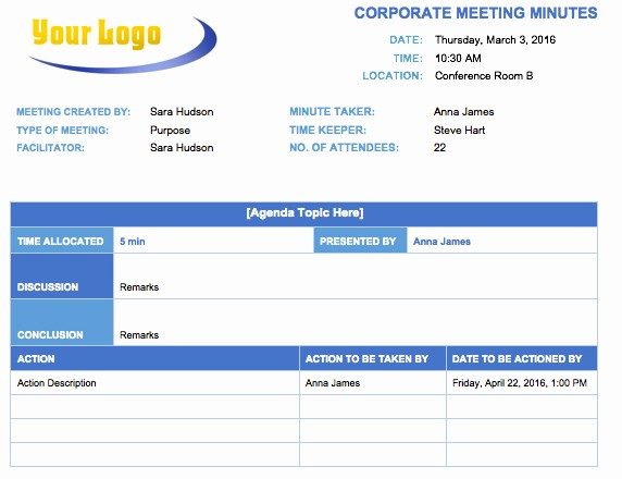 Minutes Of Meeting Corporate format Elegant Free Meeting Minutes Template for Microsoft Word