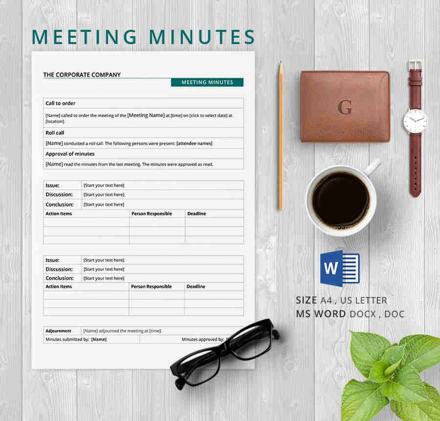 Minutes Of Meeting Corporate format Fresh 19 Meeting Minutes Template Free Samples Examples